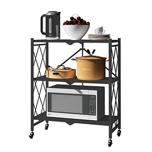 QAQA Free Standing Shelf Organization, Folding Bookshelf, Metal Storage Shelves With Caster Wheels for Home Kitchen Garage Closet Office (Color : 81 * 41 * 84.5cm)