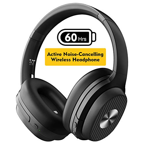 EKSA Active Noise Cancelling Headphones 60 Hrs Playtime Bluetooth 5.0 ANC Wireless Headphones Over Ear Headset with Quick Charge, CVC 8.0, Soft Protein Earpads, Hi-Fi Deep Bass for Work PC Cellphone