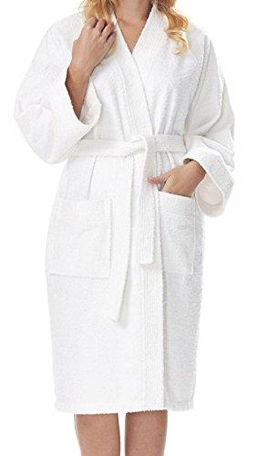 e-XCEPTIONAL SALES Kimono Style Women's 100% Cotton Terry Cloth Spa Bathrobe - Soft Short Length Robe (White, Small)