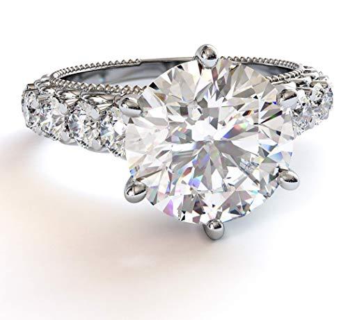 2.00 Carat Moissanite Engagement Ring with Natural Diamonds 18k White Gold (D-E VVS1) 3.00 Carat tot