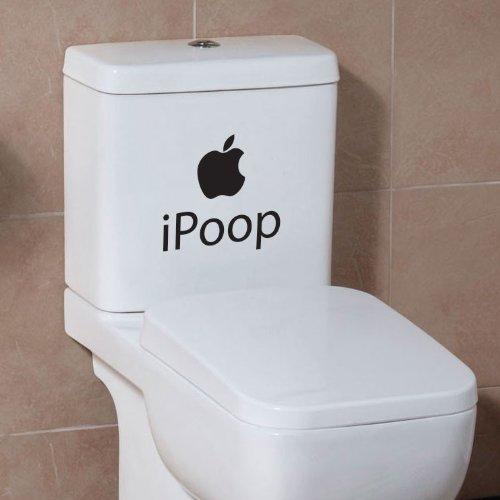 wall sticker studio Aufkleber, für Badezimmer/Toilettensitz, witziges Apple-Design iPoop, schwarz, S