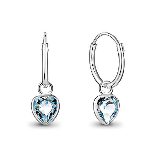 DTPsilver® Pendientes de Aro Pequeños con colgante de Corazón Cristal Swarovski® Elements - Plata de Ley 925 - Espesor 1.2 mm - Diámetro 12 mm - Color: Aguamarina
