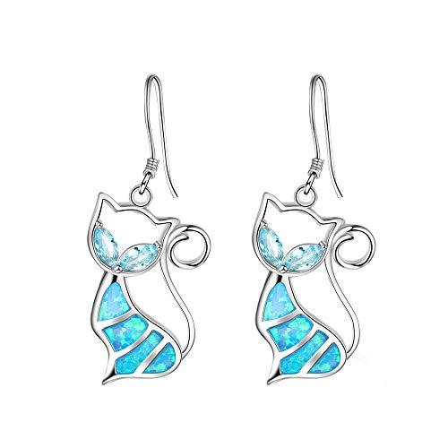 Dragonface Chat Mignon Bleu Opale de feu Boucles d'oreilles en Cristal Trendy Animaux Pendentif...