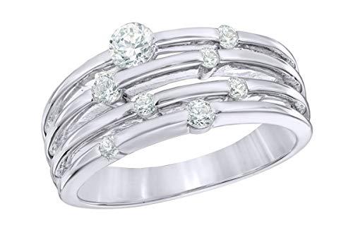 Venta de vacaciones Anillo de órbita en capas de diamante natural blanco en oro macizo de 10 quilates N 1/2-WG