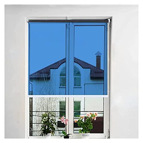 JEVCTCN Persianas para Ventanas, persianas enrollables de Espejo unidireccionales, persianas de privacidad Azules con Respaldo Plateado, Cortina de 80% de transmitancia para Sala de Estar