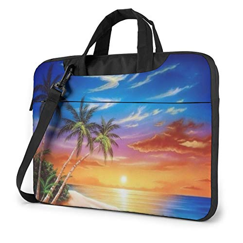Tropical Sunset Laptop Bag Shockproof Briefcase Tablet Carry Handbag for Business Trip Office 14 inch