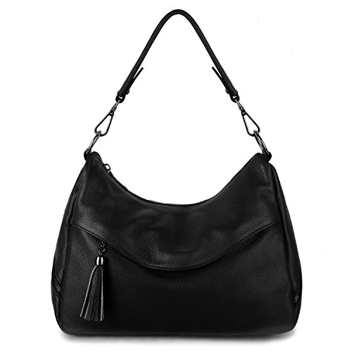 YALUXE Tote Shoulder Bag Women's Handbag Purse Cowhide Leather black
