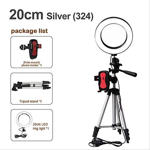 16/20 / 26cm Fotografía Regulable Led Selfie Ring Light Video Live 5500k Photo Studio Light con Soporte para teléfono USB un tamaño 20cm Tipo 3 en 1