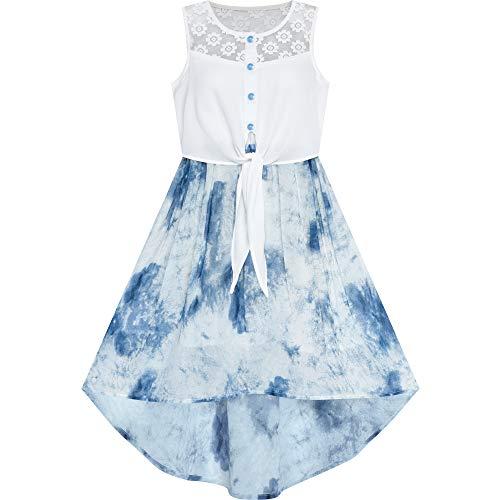 Sunny Fashion Vestido para niña Gasa Azul Floral Alta Baja Corbata Cintura Fiesta Princesa 8 años