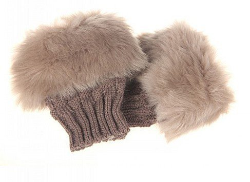 Bold N Elegant Women's Faux Rabbit Fur and Wool Knitted Thermal Fingerless Gloves (French Beige, Free Size)