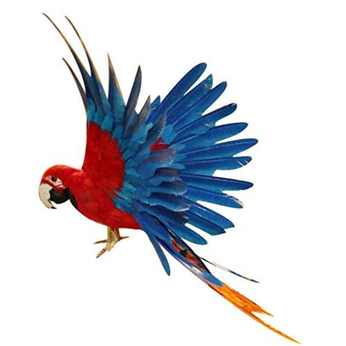 MagiDeal Künstliche Vögel Fliegen Papagei Realistische Vogel Garten Vögel Figur Dekor Ornamente - 15,7 Zoll Rot und Blau