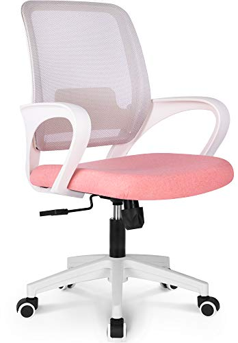 NEO CHAIR Office Chair Ergonomic Desk Chair Mesh Computer Chair Lumbar Support Modern Executive Adjustable Rolling Swivel Chair Comfortable Mid Black Task Home Office Chair, Pastel Pink