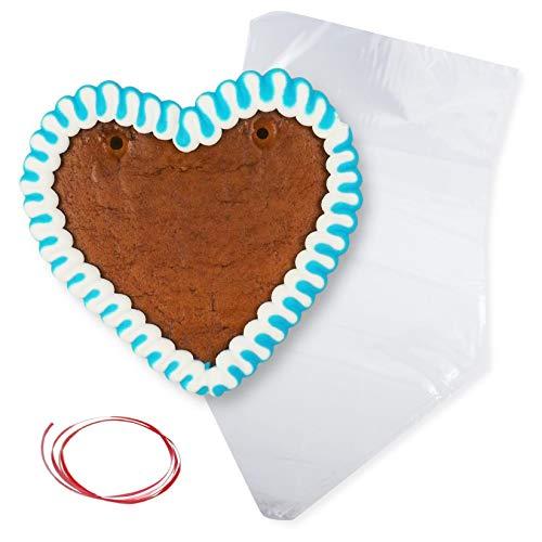 Lebkuchenherz Rohlinge mit Rand - Blau-Weiß - 12cm inkl. Wiederverpackung - Lebkuchenherzen selber gestalten LEBKUCHEN WELT