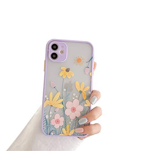 Compatible con iPhone 12/12 Mini/12 Pro MAX Funda de Silicona con Flores Diseño Patrón Lindo Carcasa Anti Rasguños Anti Arañazos Back Cover,Púrpura,12pro