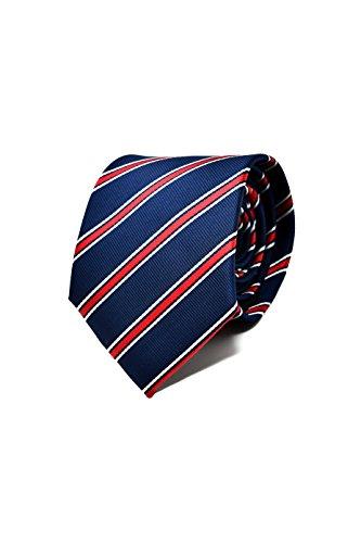 Oxford Collection Corbata de hombre Azul y Rojo a Rayas - 100% Seda - Clásica, Elegante y Moderna - (ideal para un regalo, una boda, con un traje, en la oficina.)