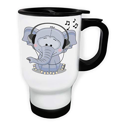 Elephant Listening Musig Tasse de voyage thermique blanche 14oz 400ml ff509tw