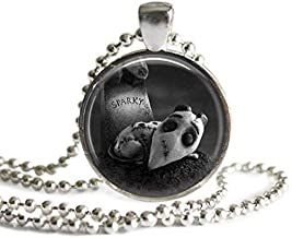 Frankenweenie Sparky Tombstone 1 Inch Silver Plated Pendant Necklace or Keychain