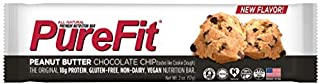 PureFit Peanut Butter Chocolate Chip Premium Nutrition Bars, 15 Count | 18G Protein, Performance Enhancement & Energy Bar – Gluten Free, Dairy Free, Low Carb, Vegan