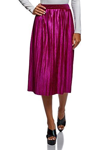 oodji Collection Mujer Falda con Pliegues, Rosa, ES 40 / M