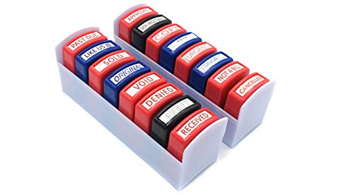 Home Office Business Rubber Stamp |16 Set Self- Inking | NOT A Bill, Approved, Received, Void, Sold, Past Due, Like US @, Denied, NONNEGOTIABLE, Draft, Urgent, Copy, Cancelled, Original, Paid, FAXED.