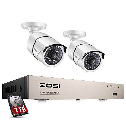 ZOSI 1080P Sistema de Vigilancia Exterior 4CH 2MP Grabador DVR con (2) Cámara de Seguridad Impermeable, 1TB Disco Duro, Visión Nocturna, Alarma de Movimiento, P2P