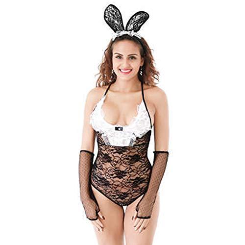 JasmyGirls Disfraz sexy de conejito para mujer, talla grande, disfraz de anime y conejito de cosplay, lencera de encaje