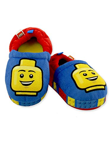 LEGO Blocks Boys Toddler Plush Aline Slippers with Non Slip Rubber Sole (11-12 M US Little Kid, Blue/Red)
