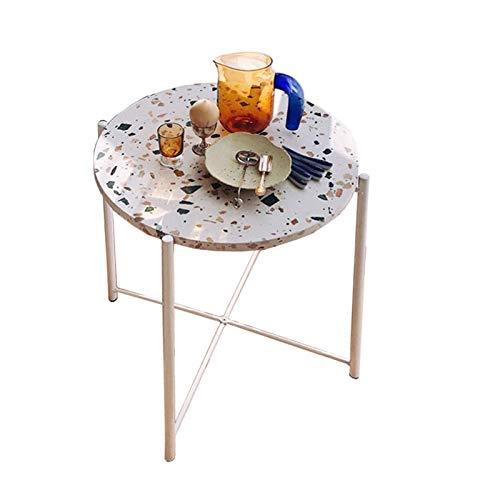 Jcnfa-Tische Terrazzo Beistelltisch, Runde Sofa Beistelltische Couchtisch (Color : White, Size : 16.53 * 16.53 * 20.47in)