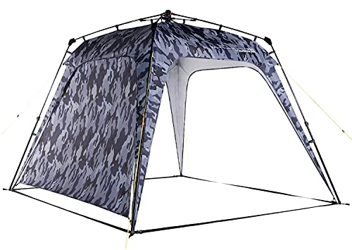 Where Tomorrow Gazebo de Camping + 1 Pared Lateral Incluida - Carpa Plegable para Acampada, Jardín o Terraza – Cenador Impermeable para Exteriores – 2.5 x 2.5 x 1.9 Metros / Gris Camuflaje