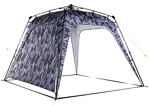 Lumaland x Where Tomorrow Tenda Padiglione + 1 Parete Laterale Inclusa - Tenda Gazebo da Giardino & Terrazzo Impermeabile - Ideale per Campeggio & Festival - Facile da Installare - Grigio Mimetico