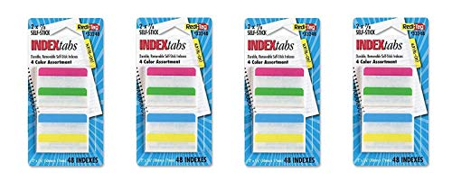 Redi-Tag Write-On Removable Index Tabs, 2 x 11/16 Inches, 48 Tabs per Pack, Sold as 4 Pack, 4 Assorted Colors (33248)