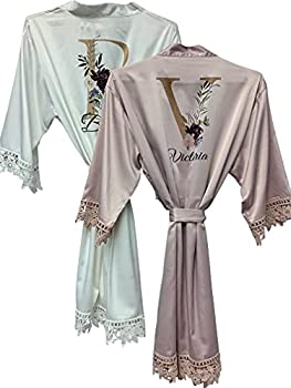 Women's Satin Kimono Robe for Bridesmaid and Bride Wedding Party Getting Ready Short Robe Bridesmaid Robes Maid of Honor Robes Personalized Robe Wedding Robe Customized Floral Robe