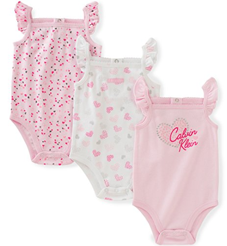 Calvin Klein Baby Girls 3 Packs Bodysuits, Light Pink, 3/6M