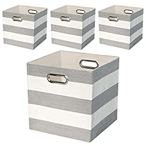 Storage Bins Storage Cubes,11×11 Collapsible Storage Boxes Containers Organizer Baskets for Nursery,Office,Closet,Shelf – 4pcs,Grey-white Striped
