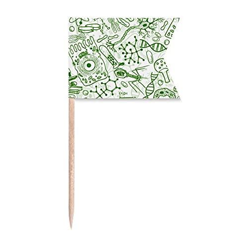 Grüne Mikroskop-Zellen-Struktur, biologische Zahnstocher-Flaggen, Markierung für Party, Kuchen, Lebensmittel, Käseplatte