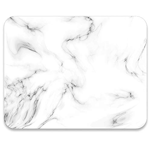 AUDIMI Mouse Pad White Marble Design Cute Rectangle Mouse Mat Anti-Slip Base for Laptop PC Office Decor Working Gaming