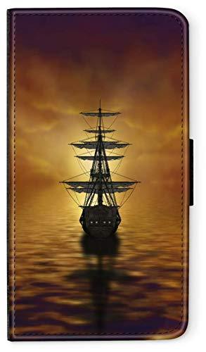blitzversand Flip Case Seefahrt SEGELSCHIFFE kompatibel für Samsung Galaxy S8 Plus Segelschiff Sonnenuntergang Handy Hülle Leder Tasche Klapphülle Brieftasche Etui rund um Schutz Wallet M10