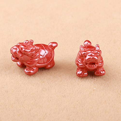 3Pcs Set Natural Genuine Cinnabar Dragon Turtle Loose Prayer Beads Spacer Chinese Bead Feng Shui Gifts for DIY Crafts Charms Jewelry Making Accessories Necklaces for Good Luck Wealth,14.5 * 7.9mm