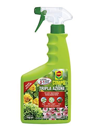 COMPO Tripla Azione PFnPO, Insetticida-Fungicida-Acaricida pronto all uso, Per Piante Ornamentali e da Fiore di Tipo Arbustivo ed Erbaceo, 750 ml
