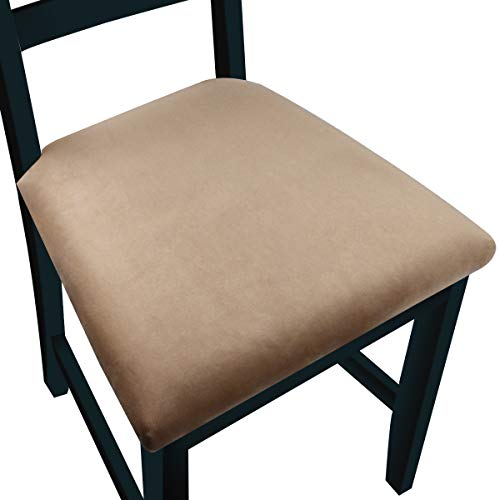 NORTHERN BROTHERS Velvet Seat Covers for Dining Room Chairs Seat Cover (Velvet Camel, Set of 4)