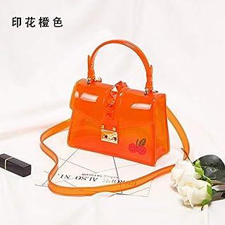 Adebie - Candy Fashion Women Summer Clear Handbag Rivet Transparent Colorful Jelly Small Tote Bag Brand Designer Shoulder Crossbody Bag Orange []