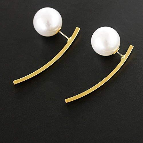 Stijlvolle eenvoud gepersonaliseerde kwast parel lange metalen paal terug opknoping Temperament oorbellen, MN 01 Golden 3185
