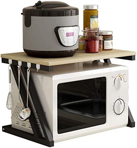 Scaffale per forno a microonde tipo Z doppio scaffale da cucina multifunzione in acciaio inox da montare con 6 ganci XMJ (colore: noce chiaro bordo telaio nero)