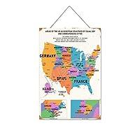 GDPに対応する都市のヨーロッパ諸国としての米国の地域鮮やかな地図木製のリストプラーク木の看板ぶら下げ木製絵画パーソナライズされた広告ヴィンテージウォールサイン装飾ポスターアートサイン