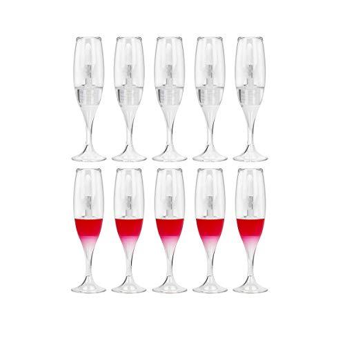 10 Piezas 8 ml / 0,27 oz Creativo Mini Copa de Vino Transparente en Forma de Tubo de Brillo de Labios vacío Viales de Esmalte de Labios (Mezcla)
