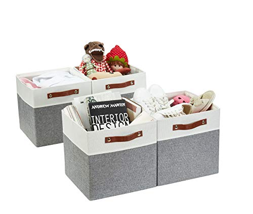 DECOMOMO Foldable Storage Bin 4-Pack Collapsible Sturdy Cationic Fabric Storage Basket Cube WHandles for Organizing Shelf Nursery Grey White 11 x 11 x 11