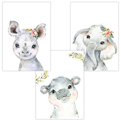 Wandbilder 3er Set für Babyzimmer Deko Poster | Kunstdruck DIN A4 | Dekoration Kinderzimmer (Nashorn Hippo-Nilpferd Elefant)