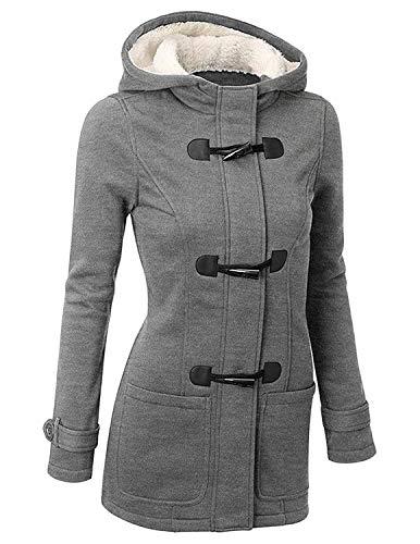 GHYUGR Cappotto con Cappuccio Donna Invernale Autunno Elegante Lungo Giacca Cotone Hoodies Classico Felpa Pulsante Corno Outwear,S,Grigio