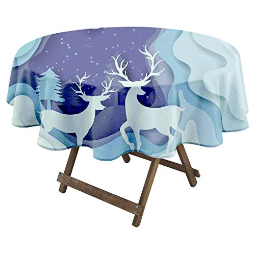 Paper Art Landscape of Christmas and Happy New Year with Tree and Reindeer Design Vector Illustration_781083205 Small Round Tablecloth Various Bright Color Patterns Suitable for Fun Gifts for Women 6