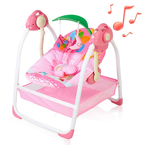 AiBeeYou Baby Swings for Infants, Baby Swing with 6 Motions,Infant Swing with Music,Sounds and Timing Function, Baby Rocker with 2 Toys, Plsuh Seat & Soft Head Support, Machine Washable Fabric (Pink)